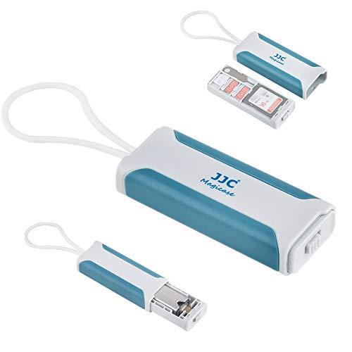 JJC 多機能SD MSD Nano SIM カード 収納ケース 1枚SDカード + 2枚MSD / TF カード + 1枚 Nano SIM カード + 1枚 USB 3.0多機能カードリーダー (付属)+ 1枚 SIMピン(付属)収納 白+青