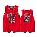 YANGLIXIA Juegos de baloncesto para niños Bullls Jordan #23 Body de bebé, sin...