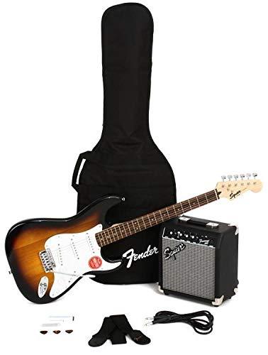 Squier® Stratocaster® Pack por Fender®, diapasón Laurel, marrón Sunburst, bolsa para concierto, 10 g – 230 V UK: Amazon.es: Instrumentos musicales