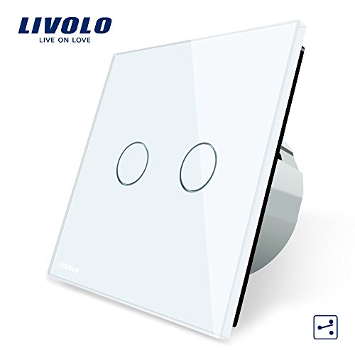Livolo Serien Wechselschalter Glas Touchscreen Wandschalter Doppelschalter VL-C702S-11 2-Weg Touch Lichtschalter Weiß