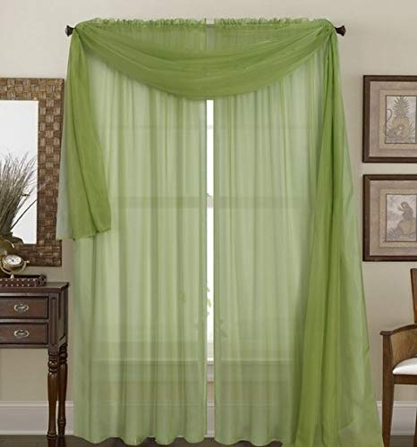 Bedding Haus Sheer Window Curtains (2 Panels) - 63 Inch Length - Decorative Solid Sheer/Voile Curtains - Rod Pocket - Solid Color - (Sheer 63, Sage Green)