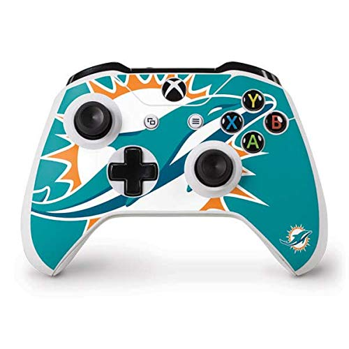 Skinit Decal Gaming Skin Compatible with Xbox One S Controller - Officially Licensed NFL Miami Dolphins Large Logo Design