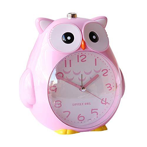 Gobesty Reloj despertador para niños, con luz nocturna y silencioso, con diseño de búho, 2 sonidos ajustables para niños, estudiantes, funciona con pilas (rosa)