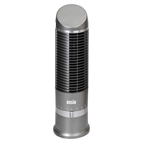 ANSIO Mini-Turmventilator, kleiner Ventilator, Turmventilatoren mit Oszillation drei Geschwindigkeitsstufen ideal für Schreibtisch, Nachttisch, zu Hause oder im Büro verwenden-Grau