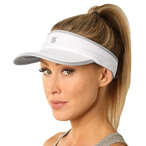 SAAKA Super Absorbent Visor for Women. Best for Running, Tennis, Golf & All Sports. Soft, Lightweight & Adjustable. (White)