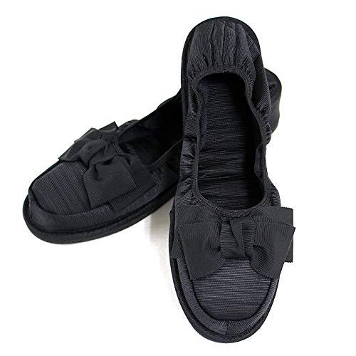 [キルシェ・ブリューテ] Kirsch Blute 【シャンタン・レース巾着付き】3.5cmヒール付き携帯スリッパ ルームシューズタイプ 【黒】 エレガント・キルシェリボン KS35C-S04 (Sサイズ)