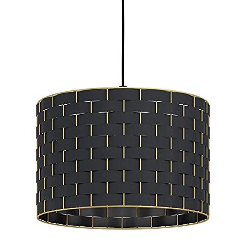EGLO Lampadario a sospensione Marasales, 1 luce a sospensione moderna, elegante, in tessuto nero e metallo in ottone, lampada da tavolo da pranzo con attacco E27, Ø 38 cm
