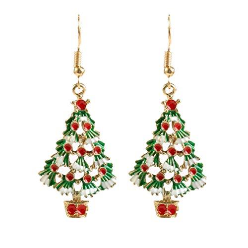 Toyvian 2 pares de pendientes de árbol de navidad - decoración navideña pendientes de diamantes de imitación...