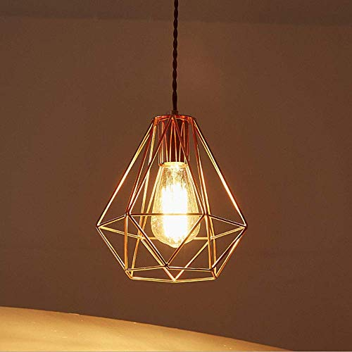 YUNZHI Pendiente de la luz Americana Creativo Moderno del Metal del Oro del Diamante de la lámpara de la lámpara de Hierro Forjado Restaurante Cafe Bar Cafe Mesa de la Cocina de la lámpara E27 / E26