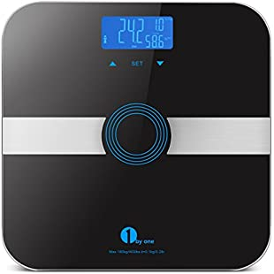 Body Fat Scale, 1byone Bathroom Scale Digital with Tempered Glass, Max. 180kg/400lb Weight Scale, 10 Users Auto Recognition, Measures Weight, Body Fat, Water, Muscle, Calorie and BMI, Black
