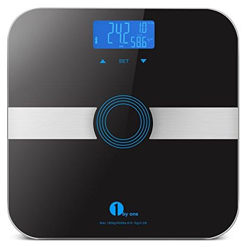 1byone Báscula escala de grasa corporal báscula de baño con cristal templado, 180 kg/400lb capacidad de peso, 10 Usuarios, reconocimiento automático, medidas peso, grasa corporal, agua, músculo, calorías y BMI, Negro
