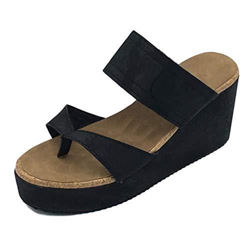 Minetom Sandalias Mujer Verano Plataforma Peep Toe Romanas Sandals Casual Gladiador Tacón De Cuña Planas Chancletas PU Flip Flops