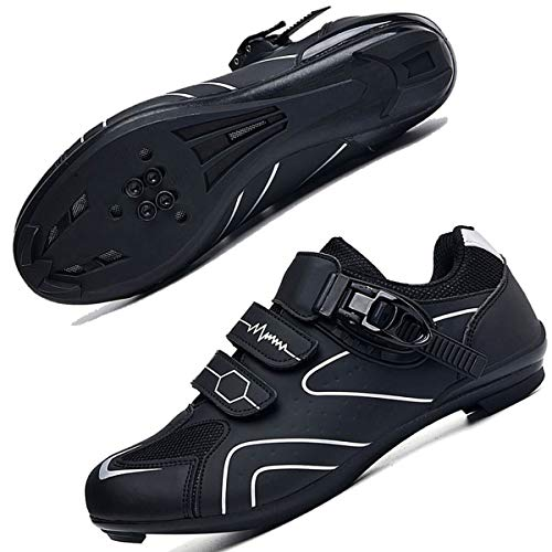 Mens Cycling Shoes for Men Road Bike Riding Shoes Buckle Breathable Cleat...