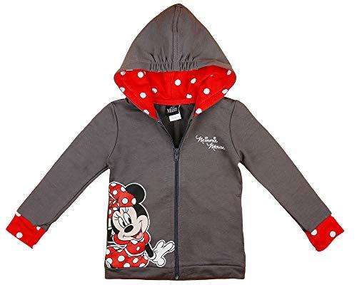 Minnie Mouse Mädchen Kapuzenpullover in Rot und Grau in Größe 80 86 92 98 104 110 116 122 Baumwolle Disney Reißverschluß-Jacke Langarm Pulli Farbe Modell 2, Größe 92