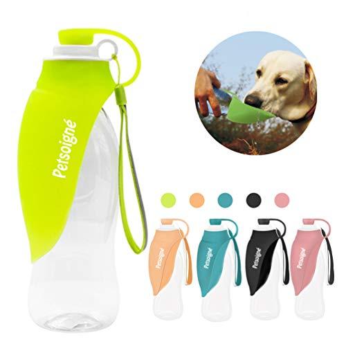 Petsoigné Hund Wasserflasche Reise Tragbar Hund Trinkflasche Unterwegs in Silikon für Outdoor (Grün)