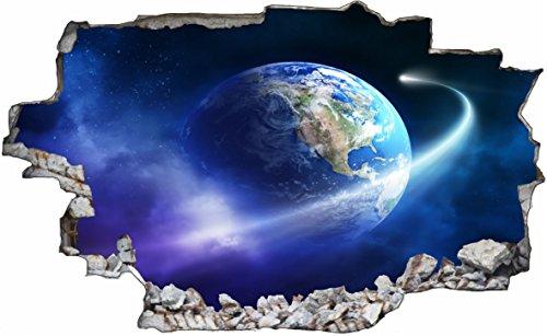 DesFoli Weltraum Erde Space Weltall Galaxy Planeten 3D Look Wandtattoo 70 x 115 cm Wand Durchbruch Wandbild Sticker Aufkleber C216
