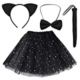 Dxhycc Black Cat Costume Set Cat Ears Headband Tail Bowtie Tutu-Halloween, Dress Up, Kids Cosplay Accessory Kit