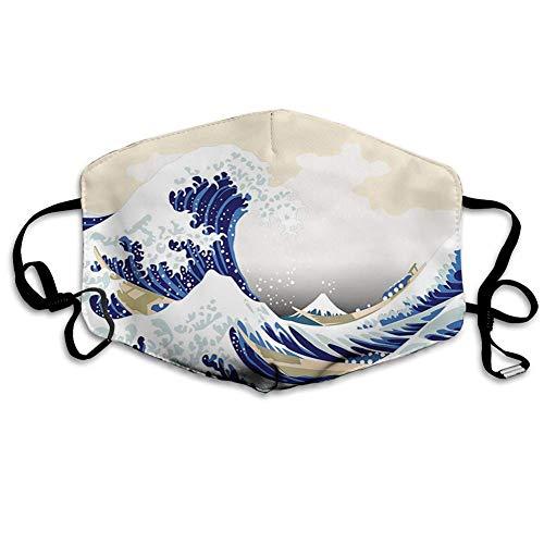 Cómoda Bufanda para la Cara, Ola, patrón de Hokusai, Estilo japonés de Dibujo Oriental con temática de Ukiyoe, océano, Beige Marino, Estampado