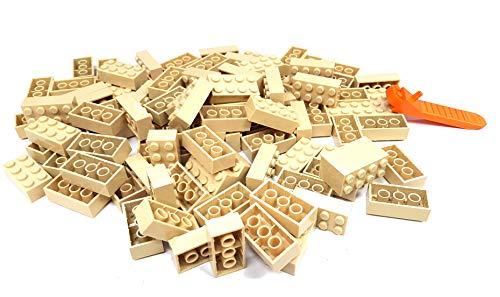 LEGO Classic 100 pezzi 2 x 4 pietre (3001) con separatore per pietra (beige)