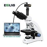 ESSLNB Trinoculaire Microscope 40x-2000x Microscope Adulte Professionnel with 3D Platine Mécanique pour Adulte Enfant avec Adaptateur Téléphonique Achromatique Objectif 2 Lampes à LED