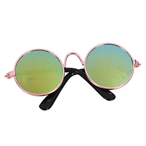 Gaetooely Fashion Kleintier Sonnenbrille Hund Katze Brille Pflege Eye-Wear Schutz Welpen Katzen Brille Coole Foto Requisiten Funny Pet Products Gold + Gold Quecksilber