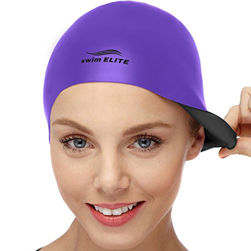 2-in-1 Premium Silicone Swim Cap - Reversible - Wear It On Both Sides - Wrinkle-Free Swimming Cap for Men and Women - Best for Short and Medium Length Hair (Purple/Black)