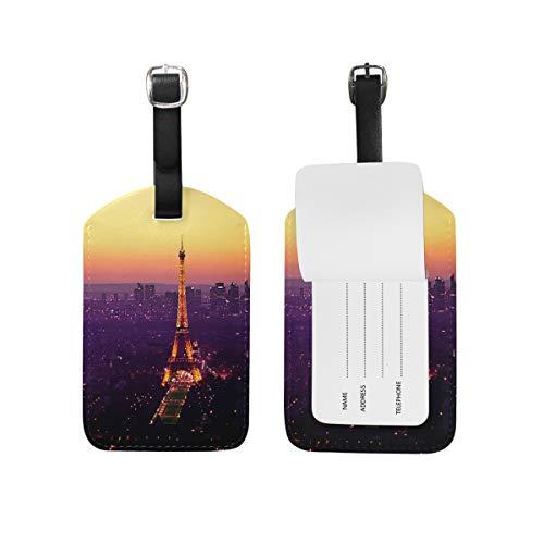 Eslifey - Tour Eiffel Sunset in pelle PU per valigia, etichette per bagagli
