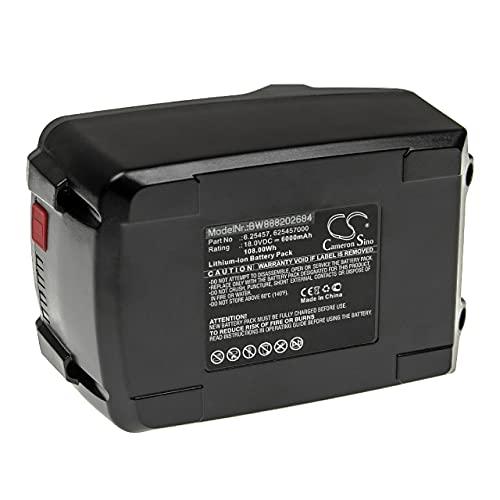 vhbw Batería recargable compatible con Metabo 160-5 18 LTX BL OF, AG 18, AG 18 602242850, AHS 18 herramientas eléctricas (6000 mAh Li-Ion 18 V)