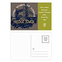 英国の英国ロンドンブリッジタワーの落書き 詩のポストカードセットサンクスカード郵送側20個
