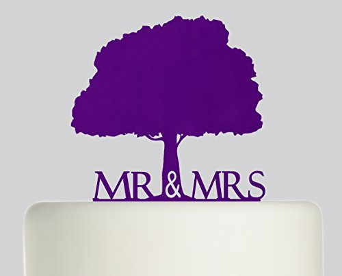 Bride And Groom Mr & Mrs Oak Tree Wedding Cake Topper Acrylic Cake Topper - Purple Acrylic