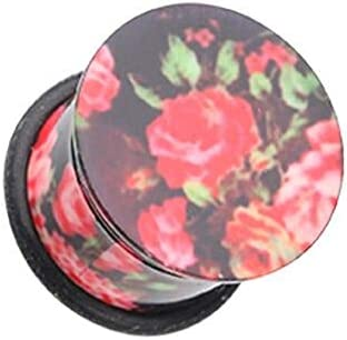 Covet Jewelry Black Pink Floral Print Acrylic Single Flared Ear Gauge Plug 7 16 11mm product image
