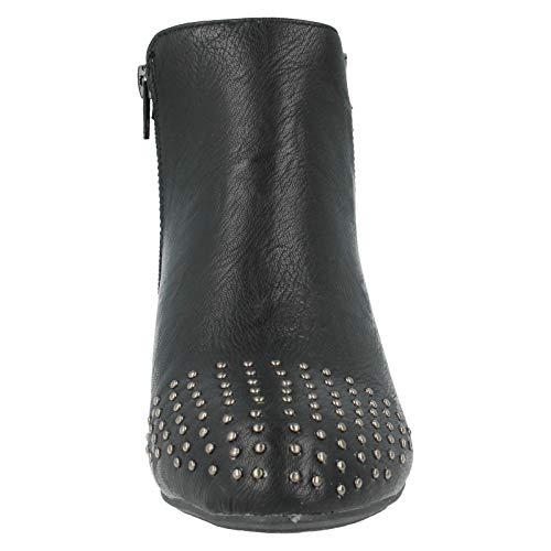 Spot On Damen Ankle Boots mit Nieten (37 EU) (Schwarz)