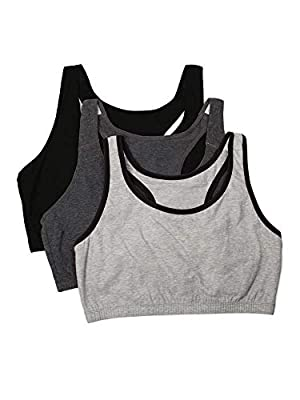 Fruit of the Loom Women's Built-Up Sports Bra 3 Pack, heather grey with black/charcoal/black, 36 by Fruit of the Loom