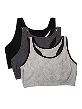 Fruit of the Loom Women s Built Up Tank Style Sports Bra Heather Grey with Black/Charcoal/Black 36