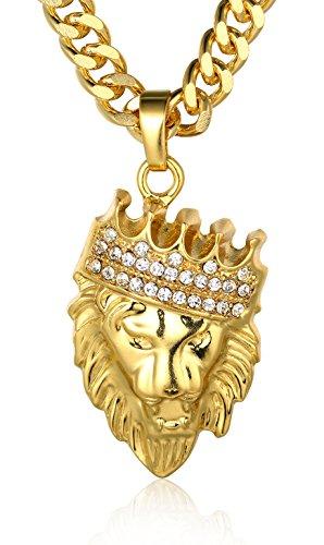 Halukakah ● Kings Landing ● Hombres 18K Oro Verdadero Plateado/Platino Plateado/Pistola Negro León Corona Colgante Collar Set con 3 Cadena Cubano Gratis 24