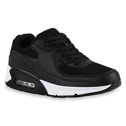 stiefelparadies Trendige Unisex Lauf Damen Herren Kinder Sport Glitzer Camouflage Sneaker Bunt Schnür Sport Schuhe 141875 Schwarz Camargo 38 Flandell