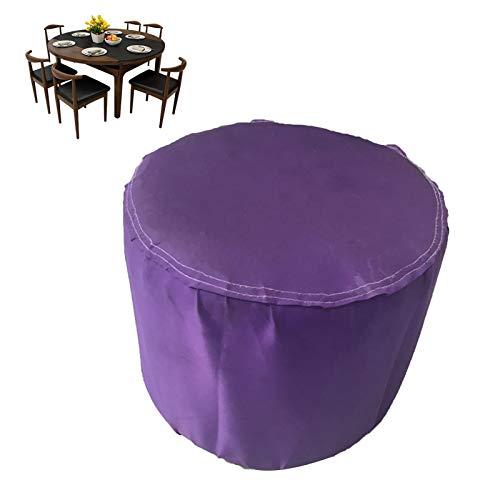 GZHENH Cubierta De Mesa Circular para Patio, Conjunto De Muebles De Jardín Al Aire Libre Impermeable Proteccion Solar Paño De Sombra De Jardín con Cordón Plegable (Color : Purple, Size : 230x110cm)