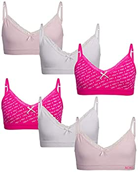 XOXO Girls  Training Bra - Seamless Cami Sports Bralette with Removable Pads  6 Pack  Size L XO Print/White/Sugar Cult