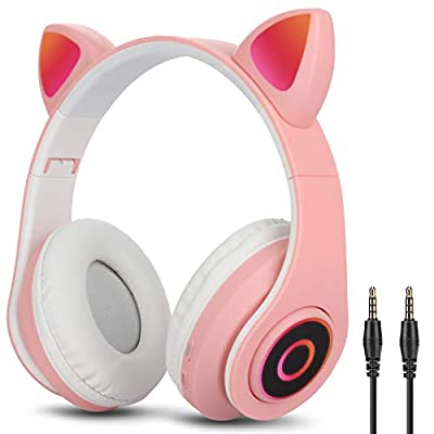 Over-Ear Headphones Bluetooth 5.0, Uplayteck Foldable Stereo Headset with Cat Ear LED Light, CVC 6.0 Noise Cancelling Headphones, Micro SD/TF, Built-in Mic, Wired/Wireless Headset for Home Office by Uplayteck