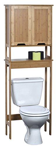 TendanceMahe Bambou, Meuble pour Toilettes avec DeuxPortes en MDF et Uneétagère intérieure, Bois, Blanc/chêne, 57x 21,5x 173cm