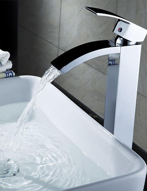 Marcu HOME Chrome Finish Solid Brass Waterfall Bathroom Sink Faucet (Tall)