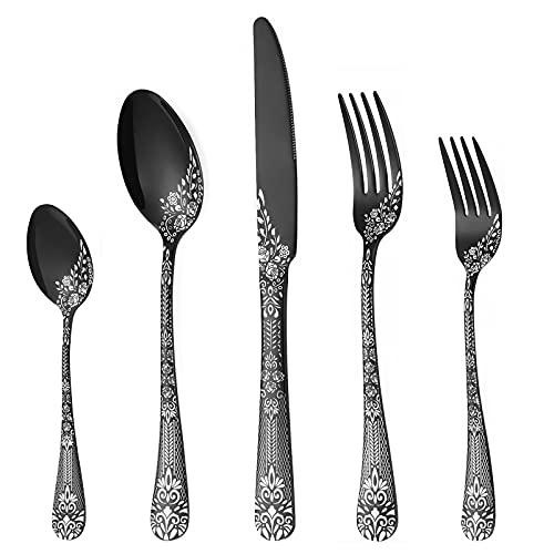 PHILIPALA 20-piece Silverware, Stainless Steel Flatware Set for 4 people, Black Cutlery Set, Knives and Forks and Spoons Sets, Unique Pattern Design, Mirror Polish and Dishwasher Safe