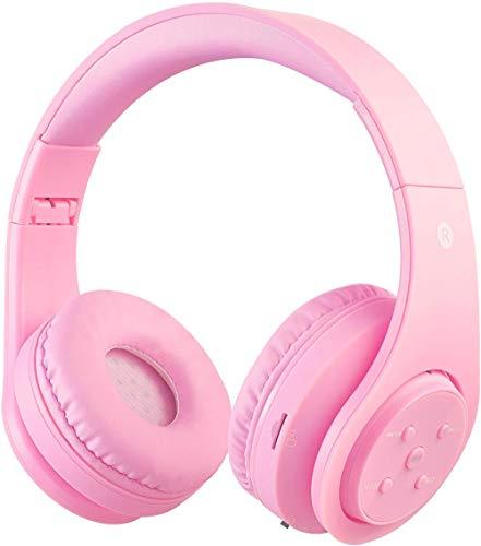 OXENDURE Auriculares Bluetooth inalámbricos incorporados Auriculares Recargables retráctiles para teléfonos Inteligentes con Tableta (Rosa Claro)