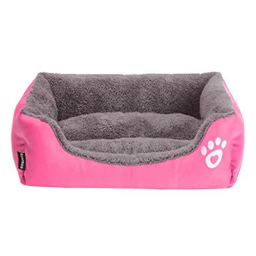 Yowablo Hundehütte Haustierbett Hundecouch Puppy Cushion House weiche warme Hundehütte Mat Blanket (95 * 75 * 18cm,Pink)