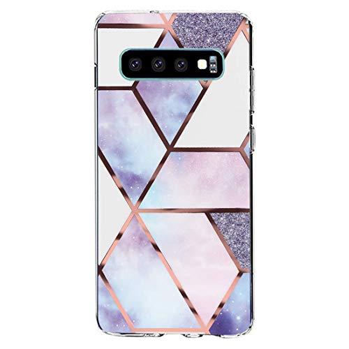 kkkie kompatibel mit Galaxy S10 Hülle Transparent Silikon Case TPU Bumper für Galaxy S10 plus Schutzhülle Marmor Blumen Muster HandyHülle für Galaxy S10e (15, Galaxy S10 Plus)