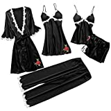 KLFGJ Women 5PC Sexy Lace Lingerie Sets,Printed Nightwear Ladies Underwear Babydoll Sleepwear Exotic Dress(X1-Black,M)