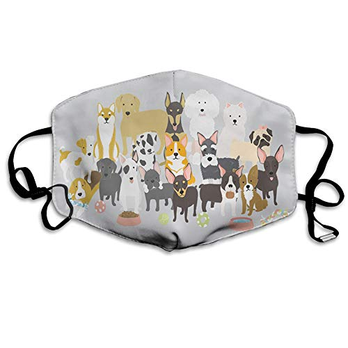 Comfortable Printed mask,Cartoon of Pedigree Pets Dog Lover Cute Friends Illustration Family Breed Theme,Windproof Facial decorations for man and woman