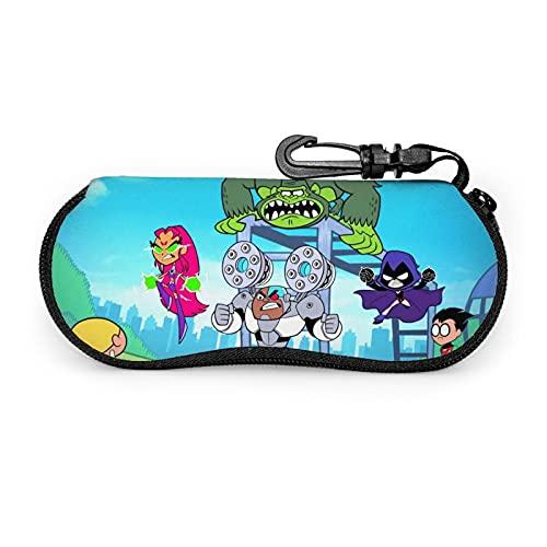 Funda suave para gafas de sol con diseño de dibujos animados de Teen Titans, ultraligera, portátil, con cremallera de neopreno, funda suave, bolsa de seguridad para gafas, caja con cremallera