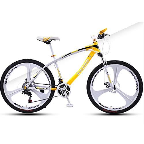 WXX 26 Pouces Haute en Acier au Carbone VTT avec Suspension Avant Siège réglable Fat Tire Hard Tail Double Shock Absorber City Mountain Bike,White Yellow,24 Speed