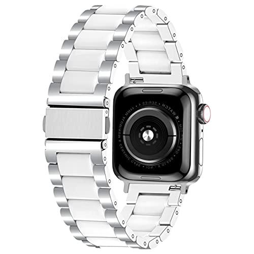 Kai Tian Correa compatible para Apple Watch 38 mm, 40 mm, 42 mm, 44 mm, cerámica y acero inoxidable, correa de repuesto para hombre y mujer, iWatch SE Series 6 5 4 3 2 1 Sport, 38mm/40mm, Cerámica.,